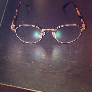Gold oval frames with leopard colored ear grips! for sale